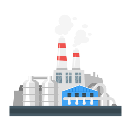 Vector cartoon illustration of industrial plant. Environmental pollution concept. Ilustracja