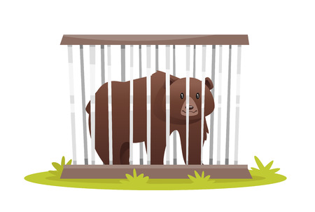 Vector cartoon style illustration of poor sad bear in zoo cage. isolated on white background.
