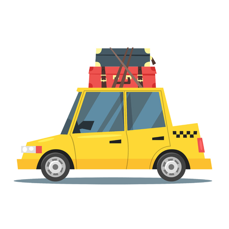 Vector cartoon style illustration of taxi car with suitcases on the roof. Travel and tourism.