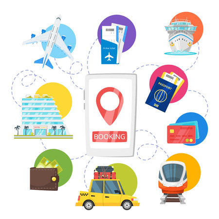 Vector cartoon style illustration of Travel and tourism concept. Concept design of advertisement poster with colorful icons of transport and vacation. Booking transport and hotel. Vectores