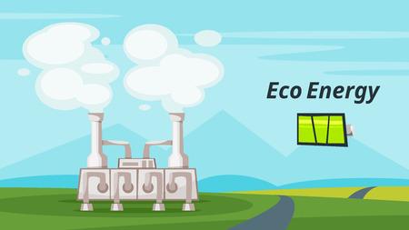 지 열 발전소의 벡터 만화 스타일 일러스트 레이 션. 재생 가능하고 지속 가능한 에너지. 환경 및 생태 개념입니다. 배경의 가로 조성입니다. 일러스트
