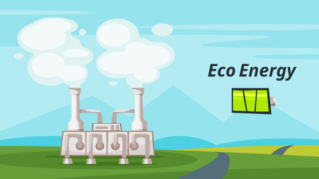 Vector cartoon style illustration of geothermal power plant. Renewable and sustainable energy. Environmental and ecology concept. Horizontal composition of background.