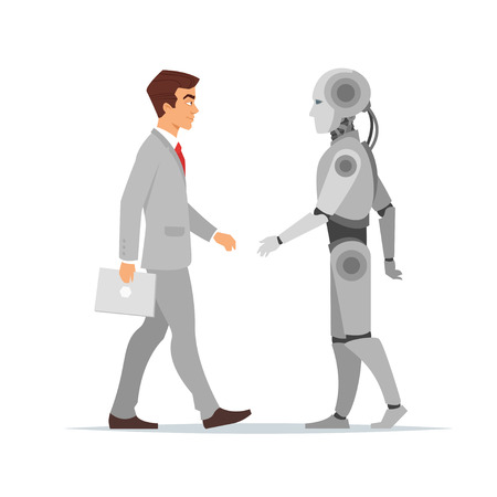 Vector cartoon style illustration of human businessman and robot standing in front of each other. Modern technology concept. Illustration