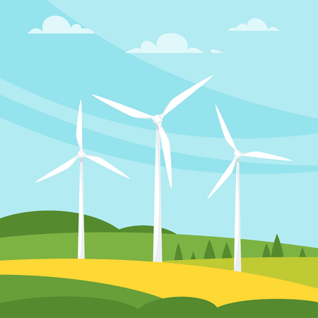 Vector cartoon style illustration of windmill on the meadow. Renewable and sustainable energy. Environmental and ecology concept. Square composition.