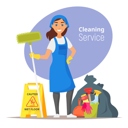 Vector cartoon style illustration of compass. Household cleaning concept.