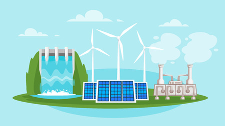 Vector cartoon style illustration of Renewable and sustainable energy source - wind mills and solar panels. Environmental and ecology concept. Horizontal composition of background. Çizim