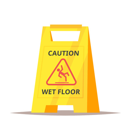 Vector cartoon style illustration of caution wet floor sign. Isolated on white background. Illustration