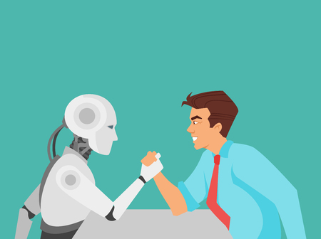 Vector cartoon style illustration of human aggressive businessman vs robot confrontation arm wrestling. Modern technology concept.