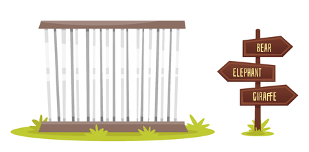 Vector cartoon style illustration of zoo cage with wooden signpost, isolated on white background.