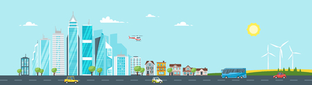 Vector cartoon style illustration of city landscape. Urban skyline. Modern skyscrapers and city transport.