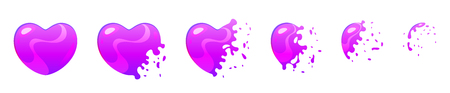 Vector cartoon style set of game heart shape ultraviolet bubble burst sprites for animation. Game user interface (GUI) element for video games, computer or web design.