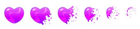 Vector o jogo do estilo dos desenhos animados de sprites da explosão da bolha ultravioleta da forma do coração do jogo para a animação. Elemento de interface de usuário do jogo (GUI) para jogos de vídeo, computador ou web design.