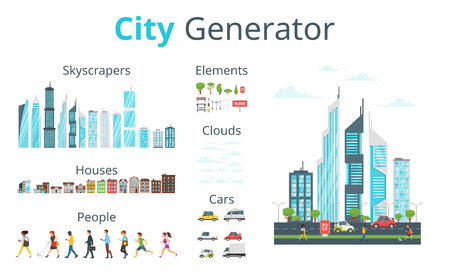 Vector  cartoon style city generator with skyscrapers, houses, cars, people and objects. Urban skyline. Modern skyscrapers and city transport.