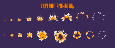 Vector cartoon style set of game fire with smoke explode effect burst sprites for animation. Game user interface (GUI) element for video games, computer or web design. Explosion frames.