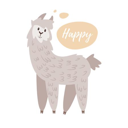 Vector cartoon style illustration of cute alpaca, isolated on white background.