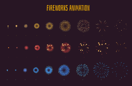 Vector cartoon style set of game fireworks explode effect burst sprites for animation. Game user interface (GUI) element for video games, computer or web design. Explosion frames.