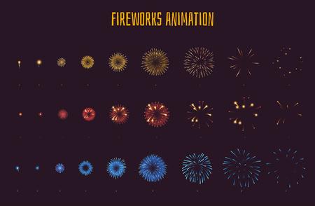 O jogo do estilo do desenho animado do vetor de fogos-de-artifício do jogo explode sprites do estouro do efeito para a animação. Elemento de interface de usuário do jogo (GUI) para jogos de vídeo, computador ou web design. Quadros de explosão.