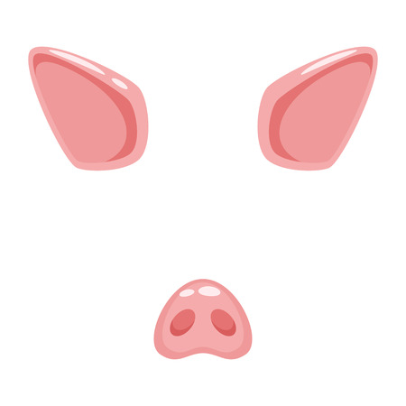 Vector cartoon style cute pig animal face element or carnival mask. Decoration item for your selfie photo and video chat filter. Ears, nose and horn. Isolated on white background. Illustration