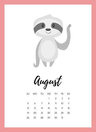 Illustrazione di stile del fumetto di vettore della pagina del calendario anno agosto 2018 con bradipo animale carino. Modello per la stampa. Archivio Fotografico - 93894807