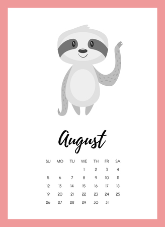 Vector cartoon style illustration of August 2018 year calendar page with cute animal sloth. Template for print. Ilustração