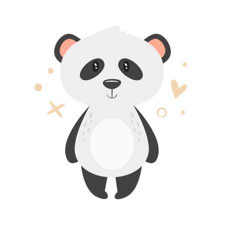 Vector cartoon style illustration of cute panda, isolated on white background.