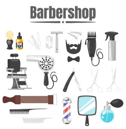 Vector cartoon style illustration of barbershop tools; combs, hairdryer and vintage chair, isolated on white background.
