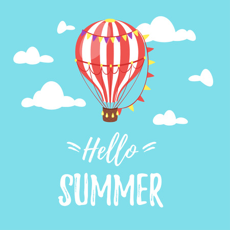 Vector cartoon style Hello Summer design for season postcard or poster with air balloon in the blue sky. Colorful vibrant template for print.
