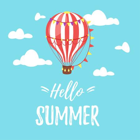 Vector Karikaturart hallo Sommerdesign für Jahreszeitpostkarte oder -plakat mit Luftballon im blauen Himmel. Bunte lebendige Vorlage für den Druck.