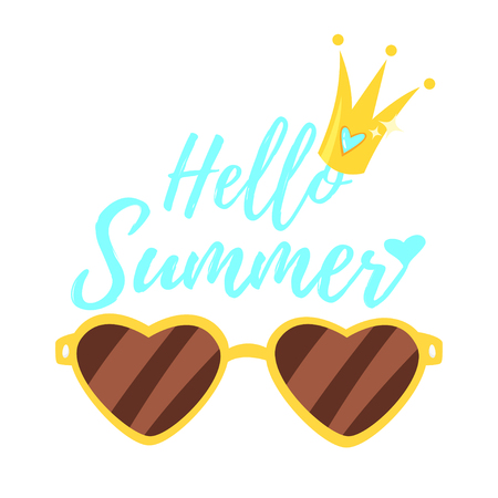 A Vector cartoon style Hello Summer design for season postcard or poster with heart shaped sunglasses and crown. Colorful vibrant template for print.