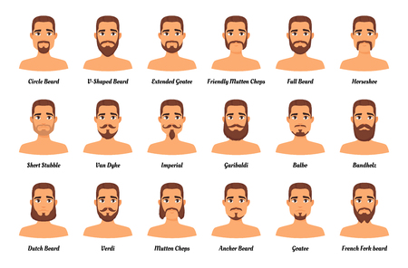 Vector cartoon style set of man different  fashion beards and mustaches on mans character face. Facial hair types guide on white background. Male avatar. Stock Illustratie