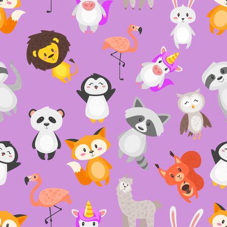 Vector cartoon style seamless pattern with cute animals on purple background. Çizim