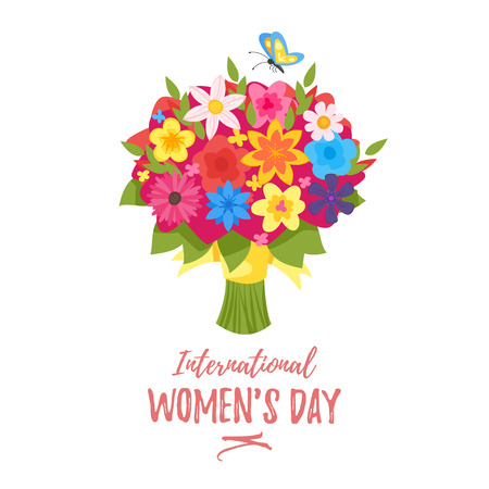 Vector cartoon style 8 of March International woman's day greeting card with flower bouquet on white background. Illustration