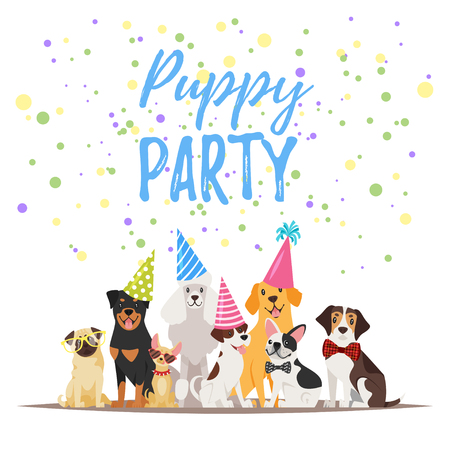 Vector  cartoon style illustration of Dog party greeting card with dogs in festive cone colorful hats.