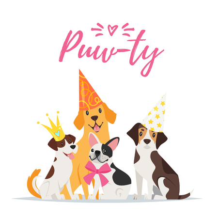 Vector  cartoon style illustration of Dog party greeting card with dogs with festive cone hats on white background. Иллюстрация