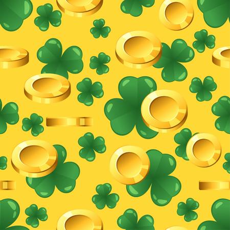 Vector nahtloses Muster mit goldenen Münzen und Shamrock auf gelbem Hintergrund. St Patrick Tagesverzierung.