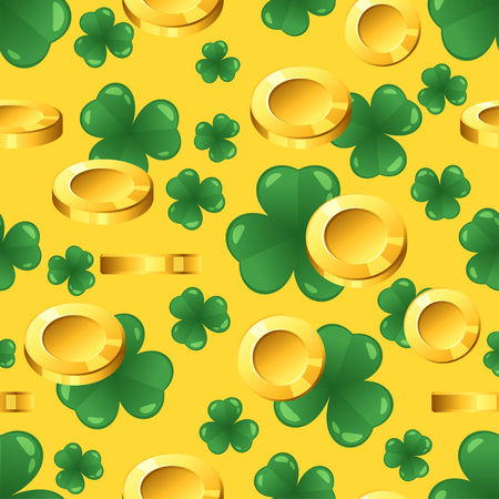 Vector seamless pattern with golden coins and shamrock on yellow background. St. Patrick's day ornament.