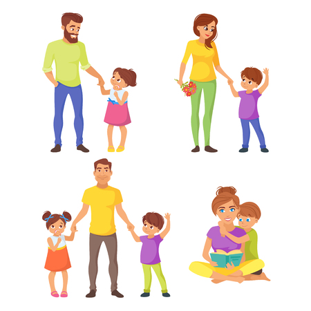 Vector cartoon style illustration of Caucasian family members set