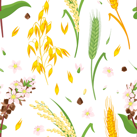 Vector cartoon style seamless pattern with cereal ingredients Illustration