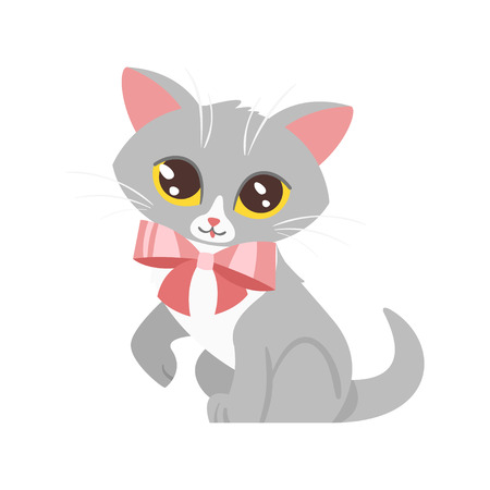 Vector cartoon style illustration of home animal pet - cute cat with pink bow. Isolated on white background.
