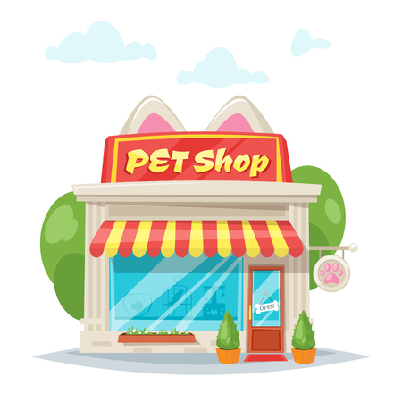 Vector cartoon style illustration of pet shop facade