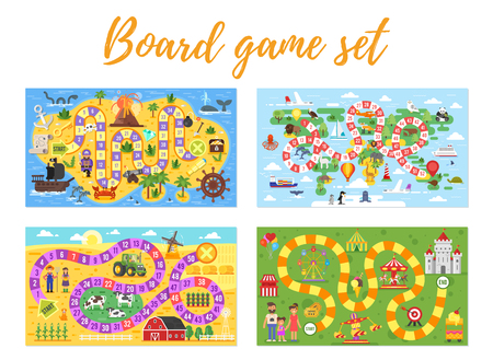 Vector flat style set of kids board game in colorful illustration.