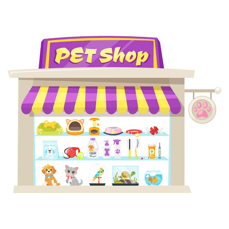 Vector cartoon style illustration of pet shop facade with bright banner. Store building exterior. Isolated on white background. Showcase products for animals.