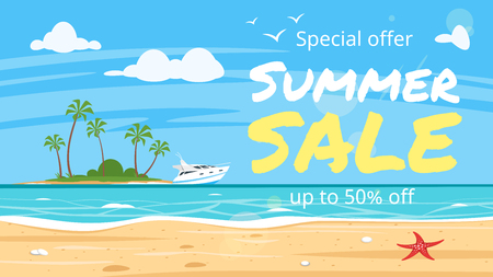 Vector cartoon style summer sale banner. Background of sea shore with island with palm trees. Good sunny day.
