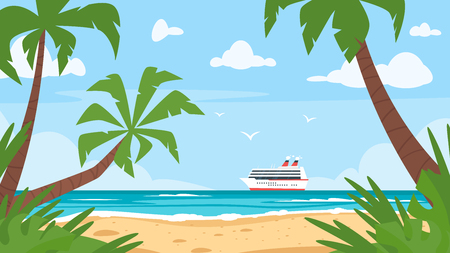 Vector cartoon style background of sea shore with palm trees and cruise ship far away. Good sunny day. Çizim
