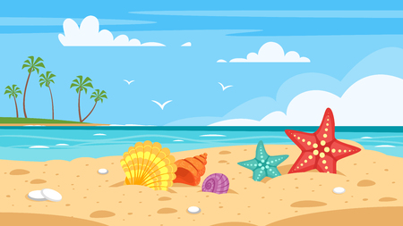 A Vector cartoon style background of sea shore with colorful seashells with Good sunny day.