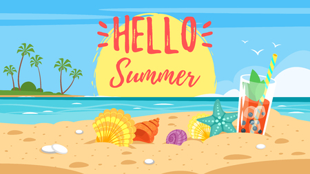 Cartoon style hello summer banner with background of sea shore with colorful seashells and tropical cocktail. Vettoriali