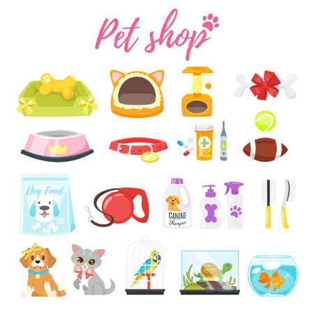 Vector cartoon style set of pet shop icons Illustration