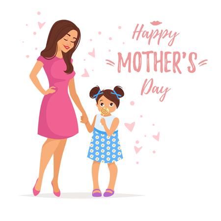 Vector cartoon style illustration of happy mother with daughter . Mothers day greeting card template on white background.