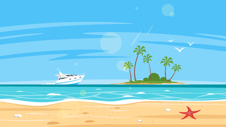 Vector cartoon style background of sea shore and tropical island far away with yacht. Good sunny day.