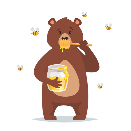 Cartoon vector style bear character eating sweet honey bees flying around isolated on white background.